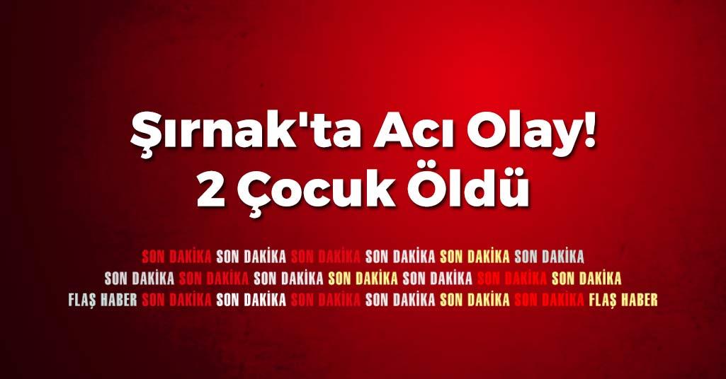 Şırnak'ta Acı Olay! 2 Çocuk Öldü