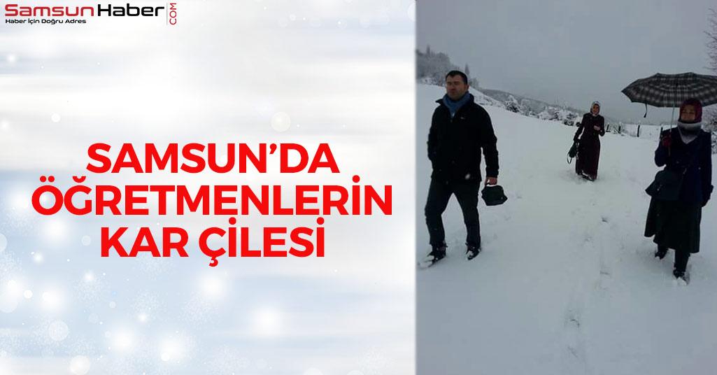 Samsun'da Öğretmenlerin Kar Çilesi