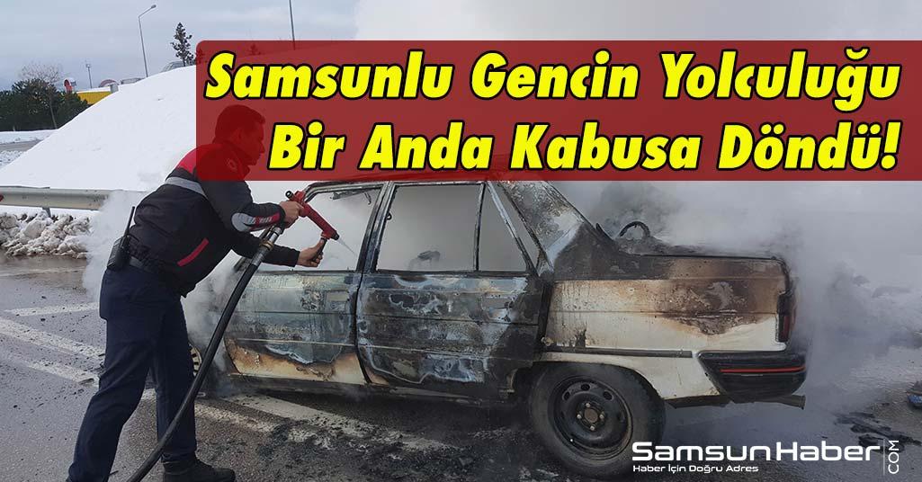 Samsun'da Araç Yangını