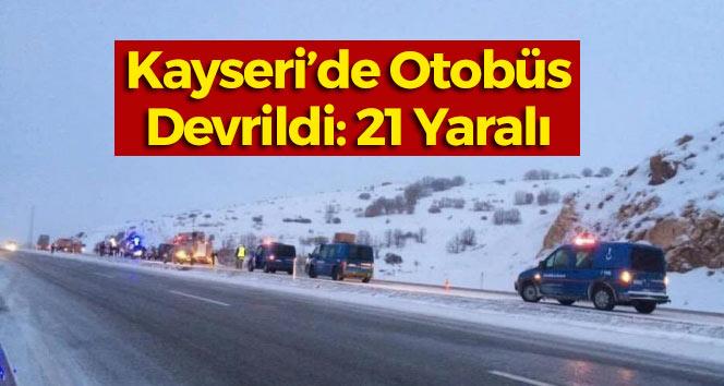 Kayseri'de Yolcu Otobüsü Devrildi: 20 Yaralı