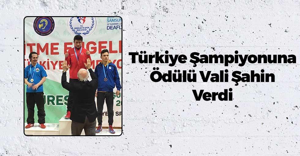 Türkiye Şampiyonu Ödülünü Vali Şahin'in Elinden Aldı