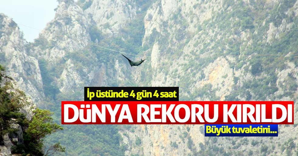 Samsun'da dünya rekoru kırıldı: 100 saat asılı kaldı
