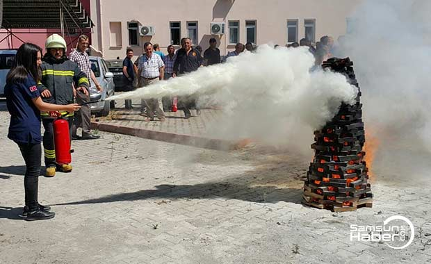 Alaçam'da yangın ve kurtarma tatbikatı yapıldı