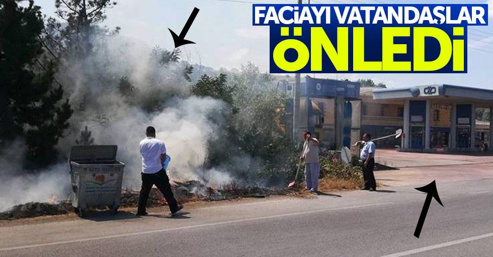 Samsun'da yol kenarında yangın çıktı