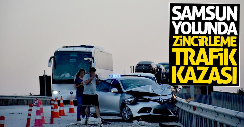 Samsun yolunda zincirleme trafik kazası