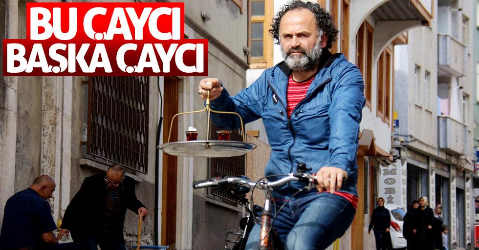 Samsun'da bisikletli çaycı