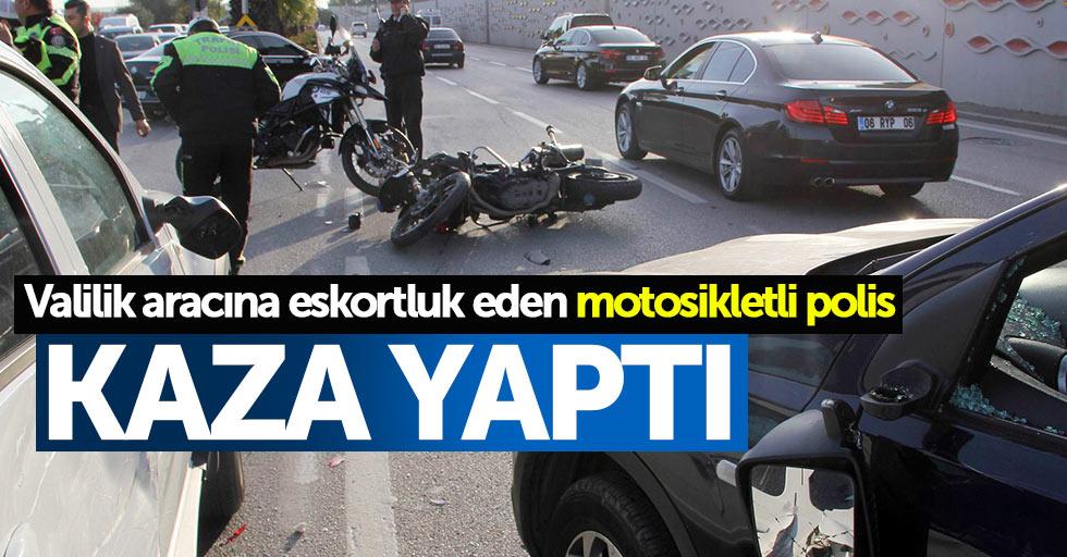 Samsun'da motosikletli polis kaza yaptı: 1 yaralı
