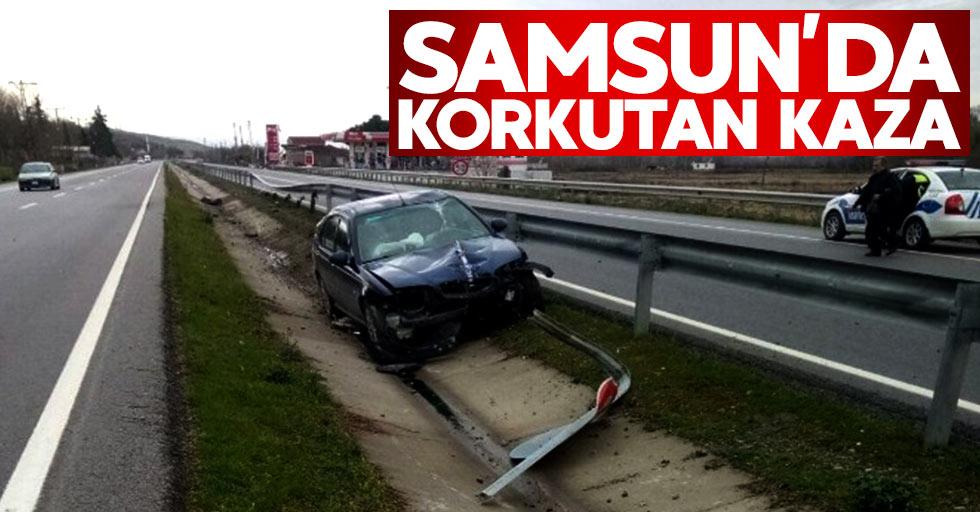 Samsun'daki kazada otomobil 40 metre sürüklendi