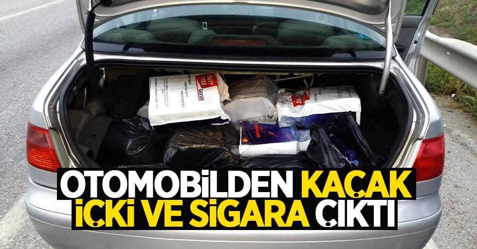 Samsun'da durdurulan otomobilden kaçak içki çıktı
