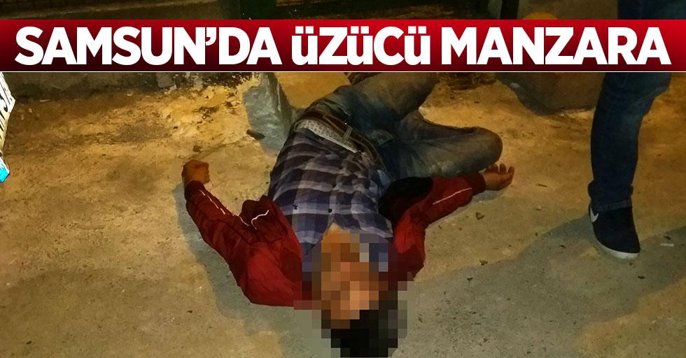 Samsun'da genç vatandaş sokak ortasında baygınlık geçirdi