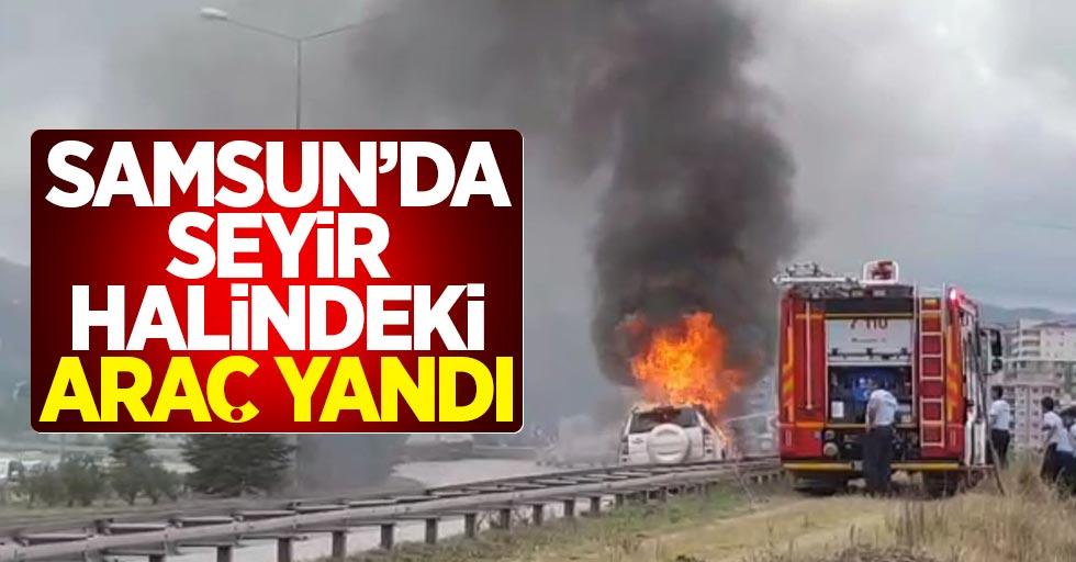 Samsun'da seyir halindeki cip yandı