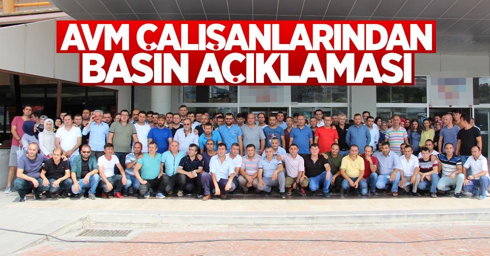 Samsun'da AVM çalışanları basın açıklaması yaptı