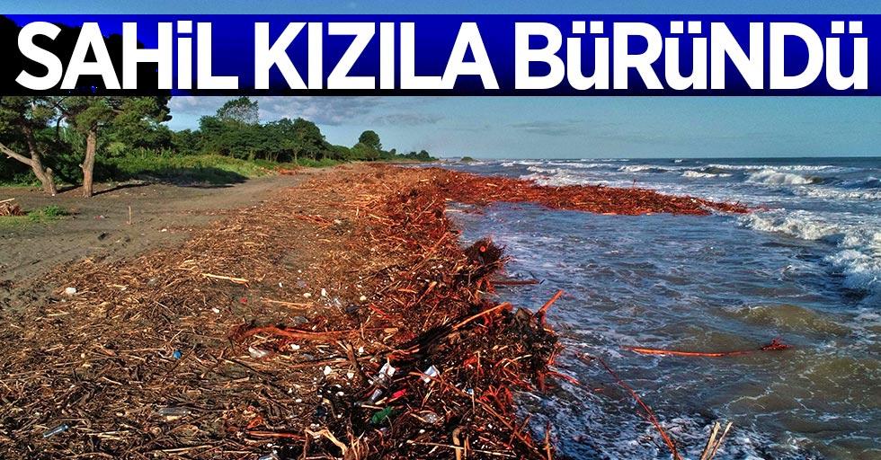 Sel felaketi sonrası sahil kızıla büründü