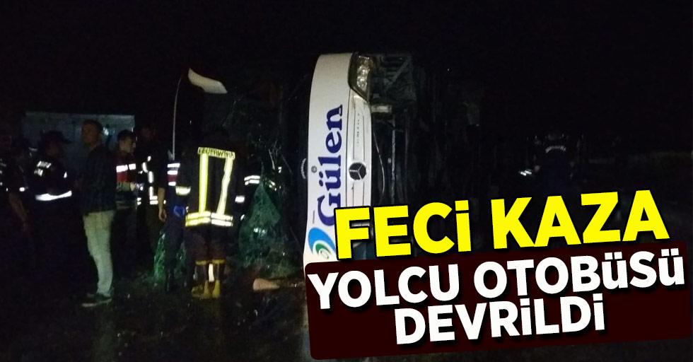 Feci kaza... yolcu otobüsü devrildi