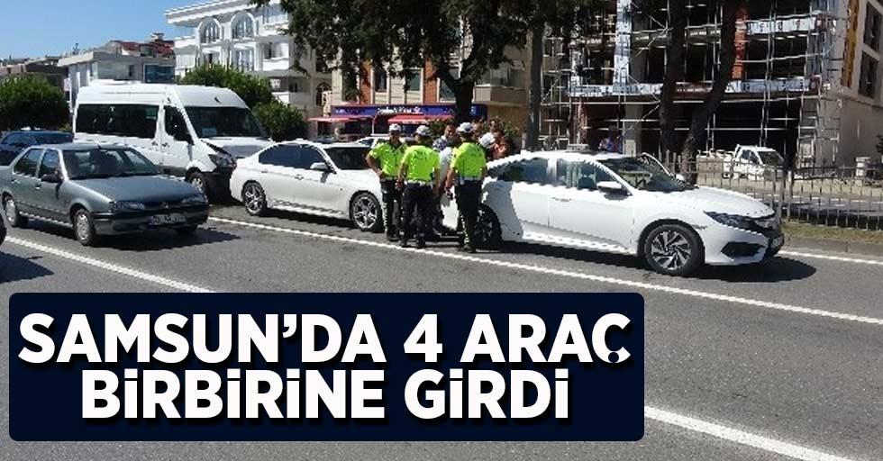 Samsun'da 4 araç birbirine girdi