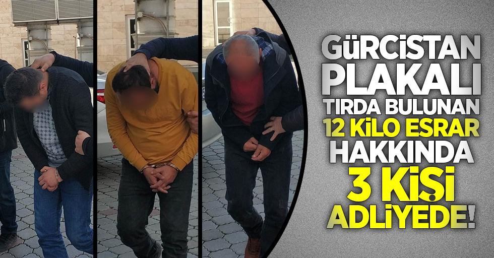 Gürcistan plakalı tırda bulunan 12 kilo esrar hakkında 3 kişi adliyede!