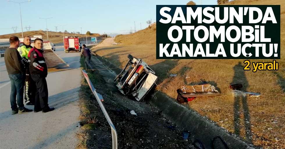 Samsun'da otomobil kanala uçtu! 2 yaralı