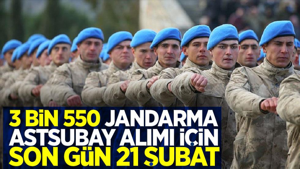 3 bin 500 jandarma astsubay alımı için son gün 21 Şubat