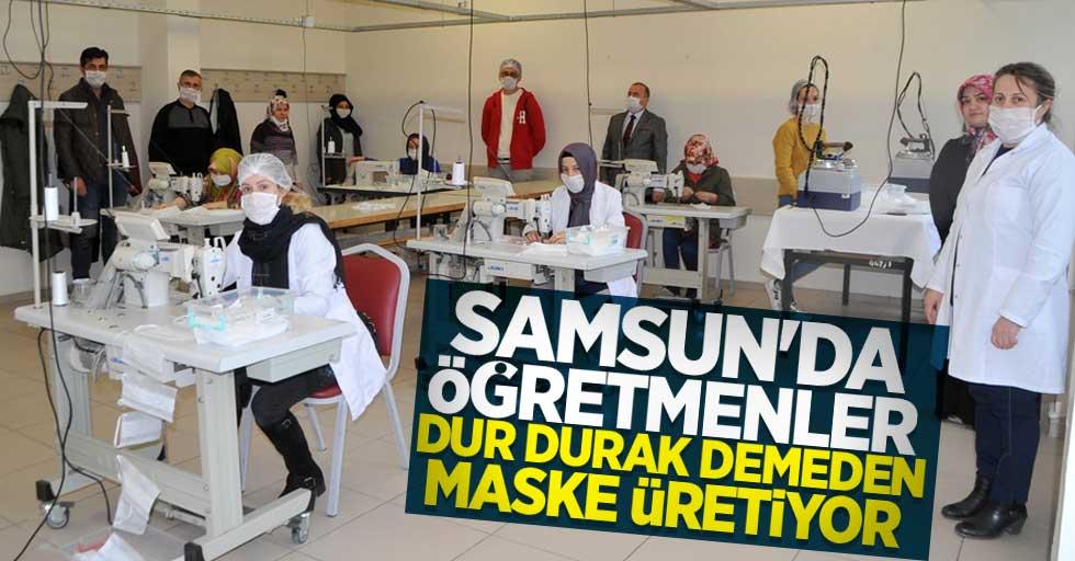 Samsun'da öğretmenler dur durak demeden maske üretiyor
