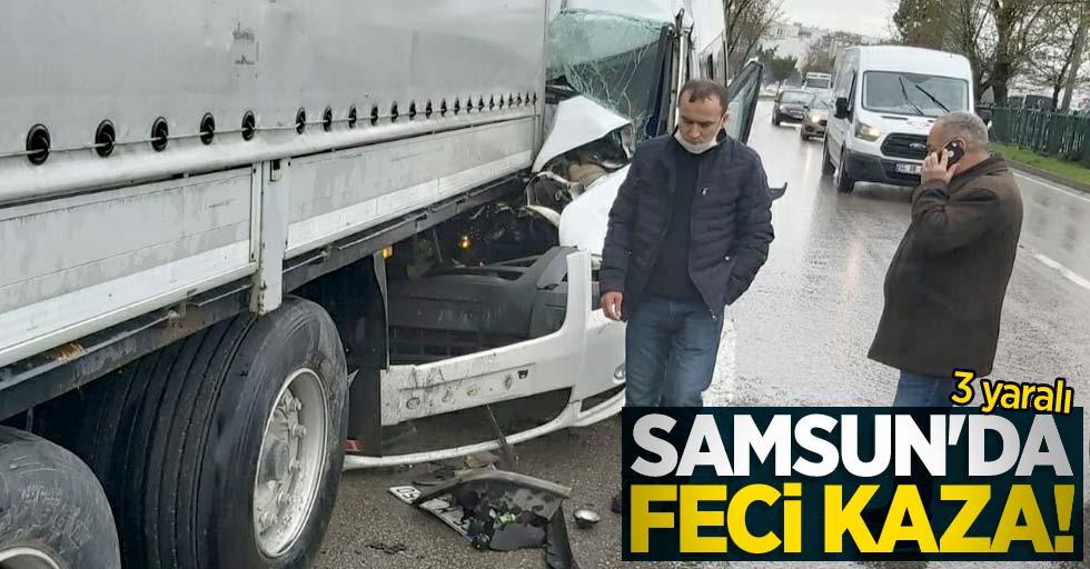 Samsun'da feci kaza! Minibüs tıra arkadan çarptı: 3 yaralı