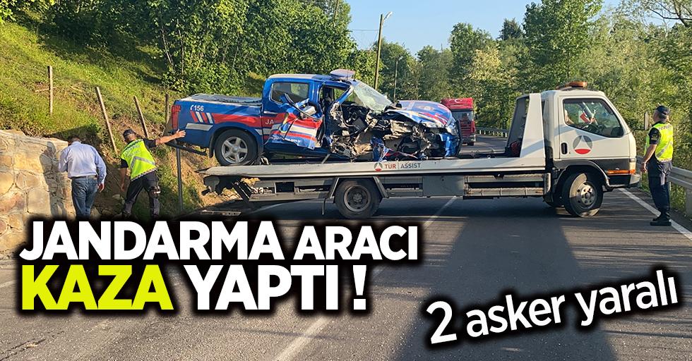 Jandarma aracı kaza yaptı! 2 asker yaralı