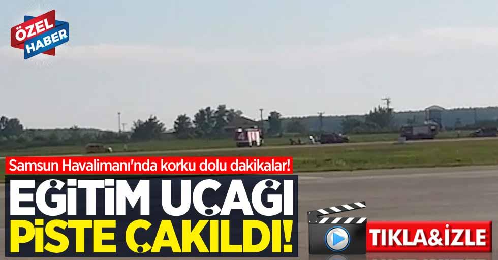 Samsun Havalimanı'nda korku dolu dakikalar! Eğitim uçağı piste çakıldı
