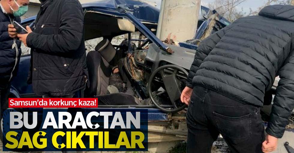 Samsun'da korkunç kaza! Paramparça olan araçtan sağ çıktılar