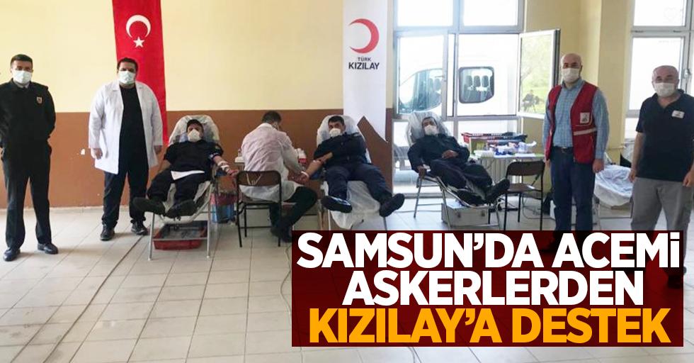 Samsun'da acemi askerlerden Kızılay'a destek