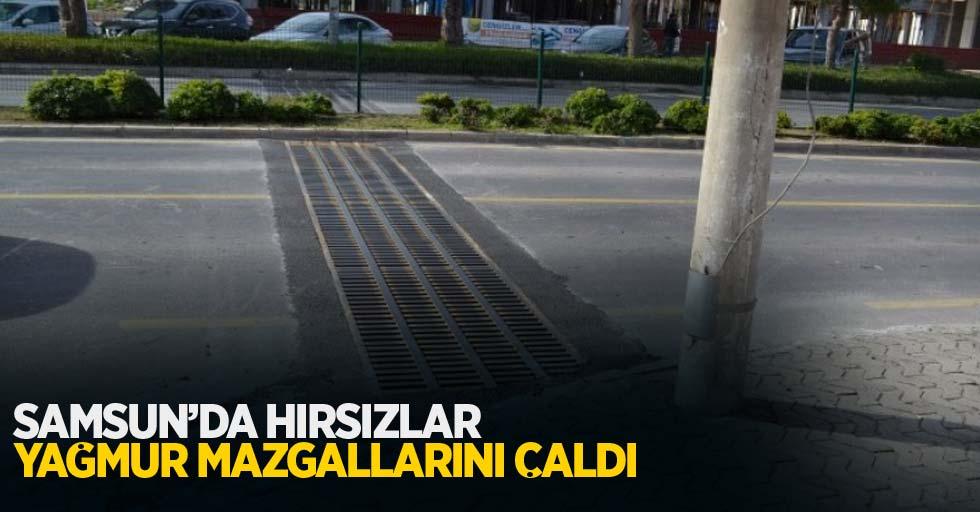 Samsun'da hırsızlar yağmur mazgallarını çaldı