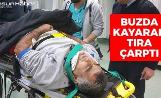 Samsun'da Kaza: Buzda Kayarak Tıra Çarptı