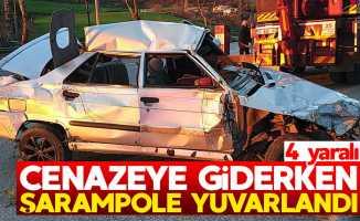 Samsun'da cenazeye giden araç kaza yaptı: 4 yaralı