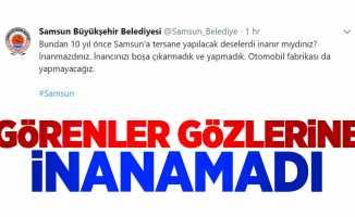 Samsun Büyükşehir Belediyesi twitter hesabı şok etti