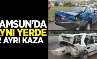 Samsun'da aynı yerde 2 ayrı kaza! 7 yaralı