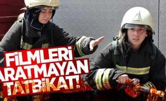 Samsun'da kadın itfaiyeciler erkeklere taş çıkartıyor