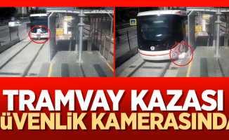 Samsun'da tramvay kazası güvenlik kamerasında