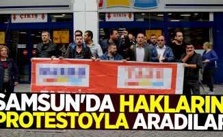 Samsun'da haklarını protesto ile aradılar