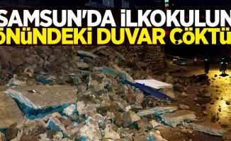 Samsun'da ilkokulun önündeki duvar çöktü!