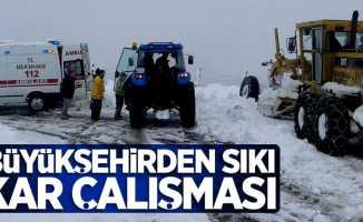 Büyükşehirden sıkı kar çalışması