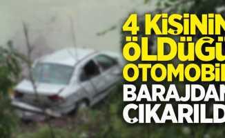 4 Kişinin öldüğü otomobil barajdan çıkarıldı