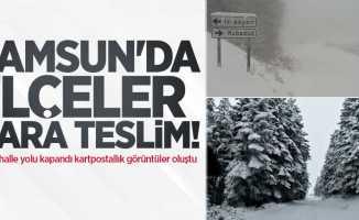 Samsun'da ilçeler kara teslim! 2 mahalle yolu kapandı