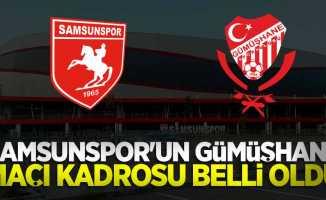 Samsunspor'un GümüşhaneMaçı Kadrosu Belli Oldu