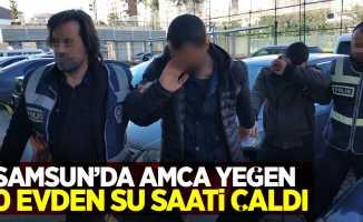 Samsun'da amca yeğen 30 evden su saati çaldı