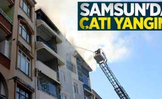 Samsun'da çatı yangını