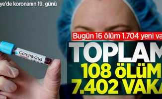 Türkiye'de bugün koronadan 16 ölüm 1.704 vaka! Toplam: 108 ölüm 7.402 vaka