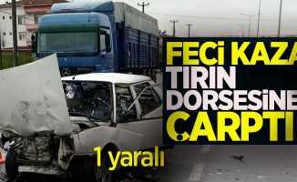 Samsun'da kaza! tırın dorsesine çarptı!