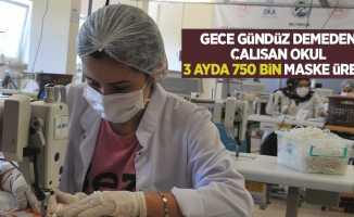 Samsun'da gece gündüz demeden çalışan okul 3 ayda 750 bin maske üretti