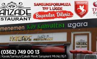 Hanzade Restorant Samsunspor kutlama mesajı