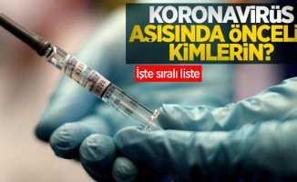 Koronavirüs aşısında öncelik kimlerin? İşte sıralı liste