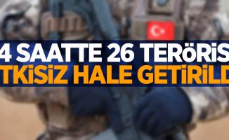 24 saatte 26 terörist etkisiz hale getirildi