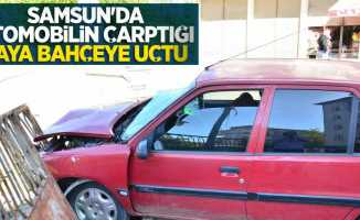 Samsun'da otomobilin çarptığı yaya bahçeye uçtu: 2 yaralı